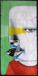 """""""Bender"""" by Michael Banks acrylic, mixed media on wood unframed 24.25"""" x 11.75"""" $250 13031"""