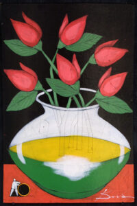 """""""First of the Month"""" by Michael Banks acrylic, mixed media on wood unframed 24"""" x 16"""" $400 #13033"""