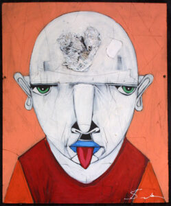 """""""Philistiene"""" by Michael Banks acrylic, mixed media on wood unframed 24"""" x 20"""" $500 #13036"""