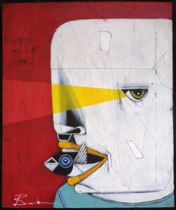 """Kenny Ray"" by Michael Banks acrylic, mixed media on wood black shadowbox 24"" x 20"" $600 # 13037"
