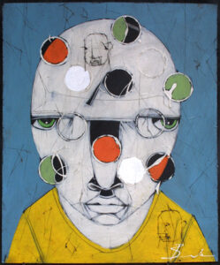 """""""Bewildered"""" by Michael Banks acrylic, mixed media on wood unframed 24"""" x 20"""" $500 #13040"""