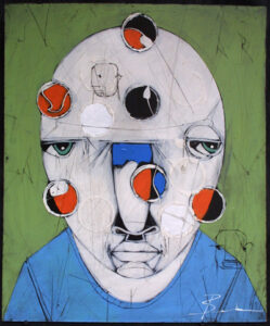 """""""Hydrogen"""" by Michael Banks acrylic, mixed media on wood unframed 24"""" x 20"""" $500 #13041"""