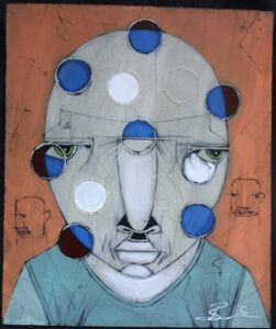 """""""Mission"""" by Michael Banks acrylic, mixed media on wood unframed 24"""" x 20"""" $500 13043"""