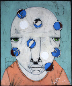 """""""Pop Culture"""" by Michael Banks acrylic, mixed media on wood unframed 24"""" x 20"""" $500 #13044"""