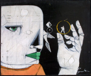 """""""Man of Steel"""" by Michael Banks acrylic, mixed media on wood unframed 20"""" x 24"""" $400 #13045"""
