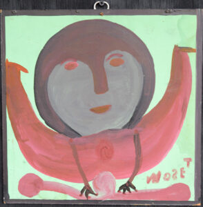 """""""Moose Lady c. 1985 by Mose Tolliver paint on wood $1600 #13055"""