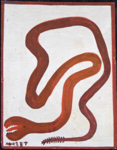 """""""Snake""""c.1985 by Mose Tolliver paint on wood 19 1/2""""x15 3/4"""" $1500 #13056"""