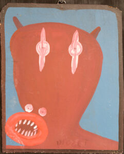 """Fierce Self Portrait"" c.1985 by Mose Tolliver paint on wood 18 1/4""x15"" $2000 # 13057"