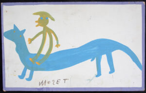 """""""Me, When I Was Young, Riding a Horse"""" c. 1985 by Mose Tolliver house paint on wood 10.25"""" x 16.5"""" $1700 #13062"""