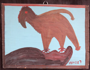 """""""Dyna Bird"""" 1981  by Mose Tolliver  paint on wood  12"""" x 16.5""""  $1600  #13063"""