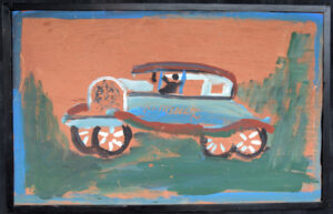 """""""First Car in Fayette"""" 1986 by Jimmie Lee Sudduth 19.5"""" x 31.5"""" in simple black wooden frame $3000 #13064"""