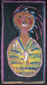 """""""Indian"""" c. 1997 by Jimmie Lee Sudduth mud, kaolin, paint on wood 36"""" x 19"""" #3000 #13067"""