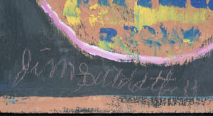 """detail sig """"Indian"""" c. 1997 by Jimmie Lee Sudduth mud, kaolin, paint on wood 36"""" x 19"""" #3000 #13067"""