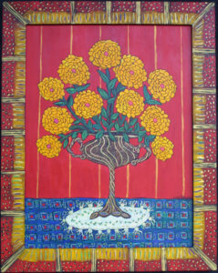 """Zinnias Like Summer"" 2021 by Sarah Rakes acrylic on wood 29"" x 22.75"" in artist's hand painted frame $1275 #13068"