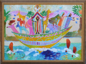 """Noah's Ark"" by Ann ""Frantic"" acrylic on wood in goldleaf frame 31.5"" x 42"" $3000 #13069"