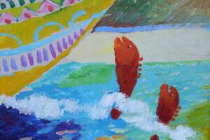 "detail ""Noah's Ark"" by Ann ""Frantic"" acrylic on wood in goldleaf frame 31.5"" x 42"" $3000 #13069"