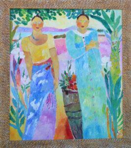 """Island Girls"" by Ann ""Frantic"" acrylic on wood in distressed wide gold leaf frame 55"" x 48.5"" $6000 #13070"