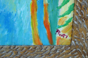 """detail """"Island Girls"""" by Ann """"Frantic"""" acrylic on wood in distressed wide gold leaf frame 55"""" x 48.5"""" $6000 #13070"""