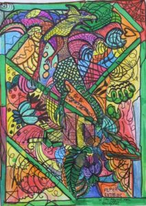"""""""The Lizard Man"""" Andrews, Alpha W'color/ marker on paper 12"""" x 8.5"""" $275"""