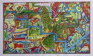 """Bird Tracks"" Andrews, Alpha ink, permanent marker on paper 12"" x 18"" $300"