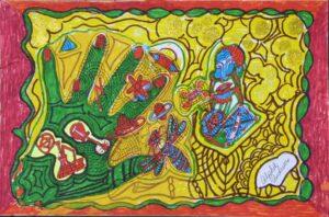 """Magic (Green Hand Guitar)"" Andrews, Alph ink on matte board 9.5"" x 14.5"" $275u"